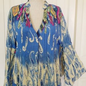 VELZERA Paisley Boho Festival tunic Dress New M